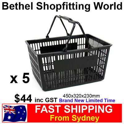 5 Large Plastic Shopping Hand Basket For Fruit, Supermarket Store Brand NEW!