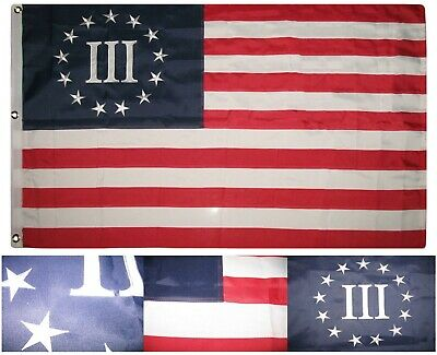 3x5 Embroidered Betsy Ross Nyberg 3 Percent 100% Cotton Flag 3'x5' 3 Clips Decal