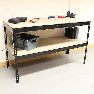 1.5m Black Heavy Duty Steel Work Bench/Station/Shelves for Garage/Warehouse/Shed