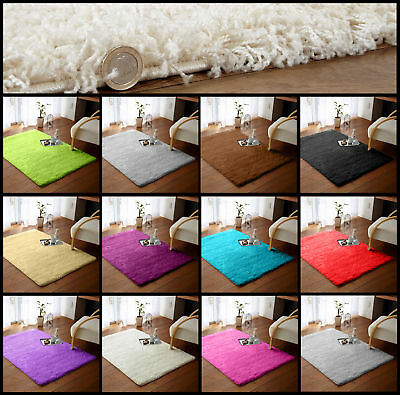 MODERN 66X110CM SHAGGY RUGS THICK SOFT NON SHED 5cm LARGE PLAIN PILE MAT CARPETS