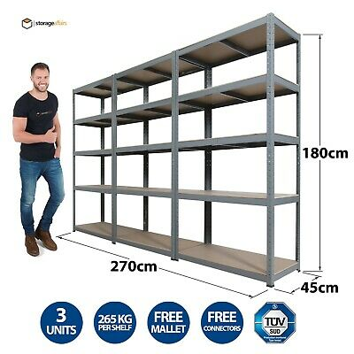 3 Garage Shelving Racking Bays 5Tier EXTRA HD Racking Shelves Storage Shed