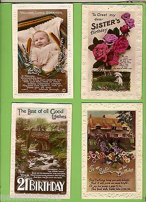 #D149.  FOUR 1940s BIRTHDAY POSTCARDS, FLOWERS, BABY , 21st  etc