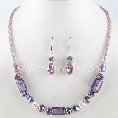 Jewelry Violet Glass Column Crystal Faceted Beads Necklace Earrings SET SM978
