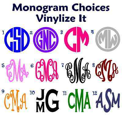 Monogram Initials Vinyl Decal/Sticker.  Create Personalized Gifts!