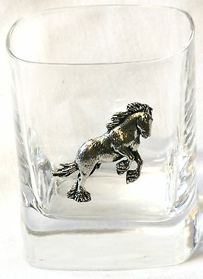 Shire Horse Pewter Emblem Pair of Crystal Tumblers Presentation Box Farming Gift