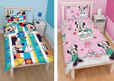 Mickey Minnie Mouse Single Duvet Sets Disney Reversible design Quilt Pillow New