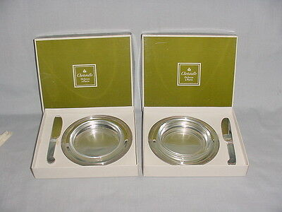 SILVERPLATE CHRISTOFLE PAIR SET BUTTER DISH TRAYS WITH CRYSTAL INSERTS NIB