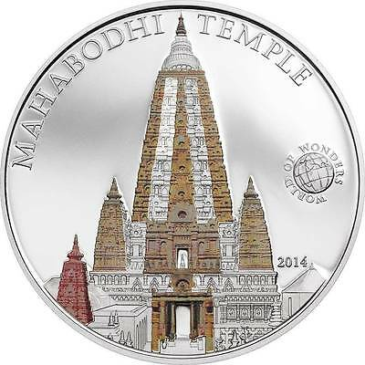 Palau 2014 5$ World of Wonders IX - Mahabodhi Temple Proof Silver Coin