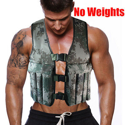 Empty Adjustable Camo Workout Weight Weighted Vest Exercise Training Fitness