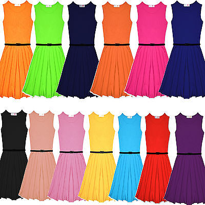 Girls Skater Dress Kids Plain Print Summer Party Dresses Outfit Age 7-13 Years