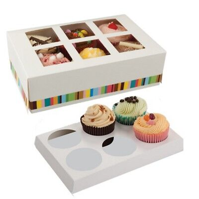 Cupcake Boxes  ~ 6 Hole Cake Box Holder ~ Muffin Pod Case ~ Select Your Amount