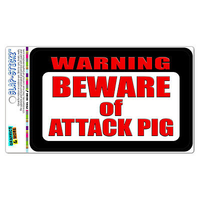 Warning Beware of Attack Pig SLAP-STICKZ™ Car Window Locker Bumper Sticker