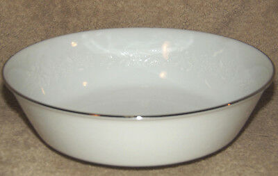 "Noritake Reina Round Vegetable Serving Bowl 8 7/8"" Platinum Trim White Floral"