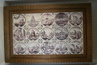 Antique Delft Manganese Biblical Old Testament Tiles (Judaica?)