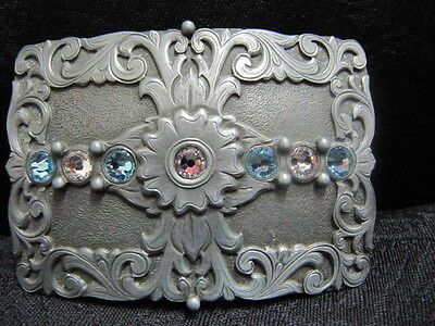 ANDWEST - Women's Belt Buckle - Antique Silver Scroll - Blue Rhinestones - 542-1