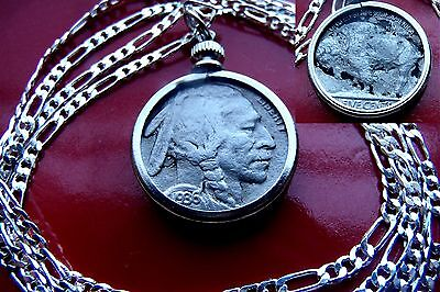 "Antique 1936-1937  Buffalo Indian Head Nickel on a 28"" 925 Sterling Silver Chain"