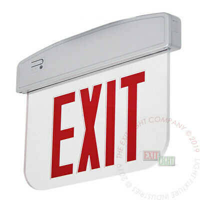 Red LED Exit Light Sign - Edge Lit Decorative Silver Fire Emergency UL ELSMP2R