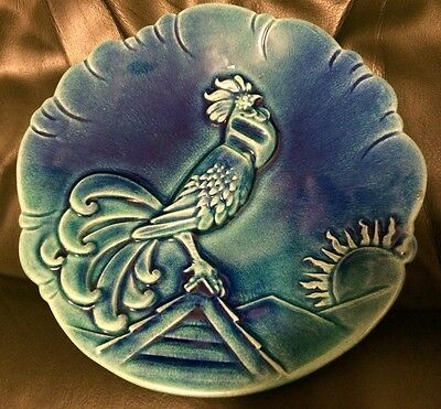 RARE! ROYAL HAEGER Rooster Display Plate 1048-H BLUE POTTERY
