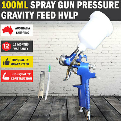 New Gravity Feed Mini HVLP Spray Gun, Paint Low Pressure 100ml & Nitto Fitting