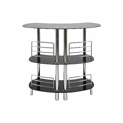 "Actona ""RAKI"" Black Glass and Chrome Bar / Table / Home Pub Unit"