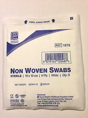 Non Woven SWABS - 10 x 10 cm Sterile Medical (4ply) CE. Premier Brand