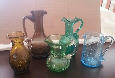 Vintage Colored Crackle Glass Pitcher Vase Ruffle Green Amber Blue 5 piece