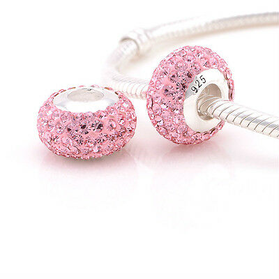 New Authentic Sterling Silver Core Charm Bead for Fashion Bracelet PINK Crystals