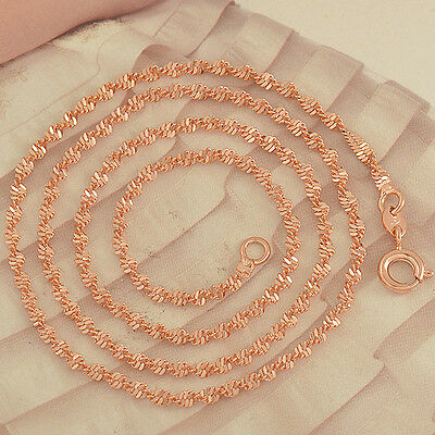 """17.7"""" Rose Gold Filled Water Wave Necklace,F2489"""