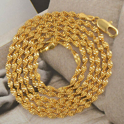 """Classic 9K Yellow Gold Filled Water Wave Womens Necklace 24"""",F2993"""