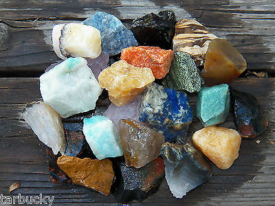 "1/2 LB BRAZIL MIX  Large 1"" Bulk Rough Rock Tumbling Tumbler Stones 1100+ carats"