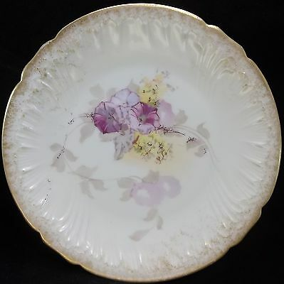 Antique PHL Limoges France Cabinet Plate Hand Painted Purple Morning Glory Gold