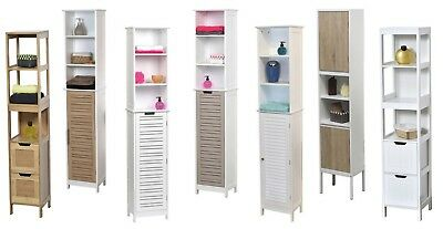 "Evideco Free Standing Bath Linen Tower Cabinet  White + 1 door 68""hx13.8""w"