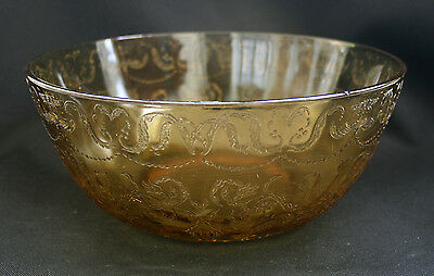 Federal Depression Amber Glass Serving Bowl 9.5""