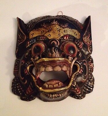 "FOO DOG Hand Carved Wood Painted Vintage Mask Great Condition RARE!!! 8"" X 7"""