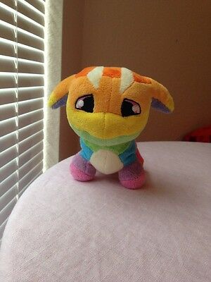 Neopet Rainbow Poogle Dog Puppy PLUSH BEANIE COLORFUL DOLL TOY STUFFED ANIMAL