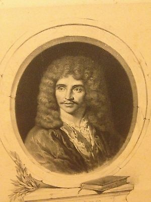 Antique 19th Century Engraving Moliere French Playwright Actor By Barry Superb