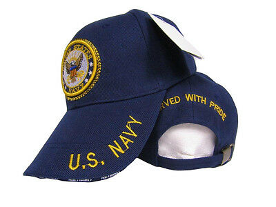 6e5c0afb5e6 US Navy Emblem Seal Crest Served With Pride Retired Blue Hat Ball Cap (RUF)