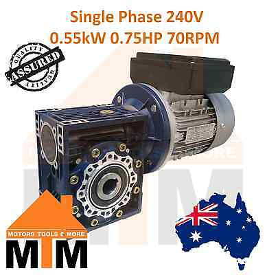 Single Phase 0.55kW 0.75HP 70rpm Type 50 Electric Motor & Worm Gearbox Drive i40