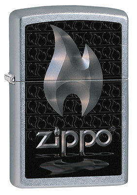 Zippo Windproof Street Chrome Lighter With Flame And Logo, # 28445, New In Box