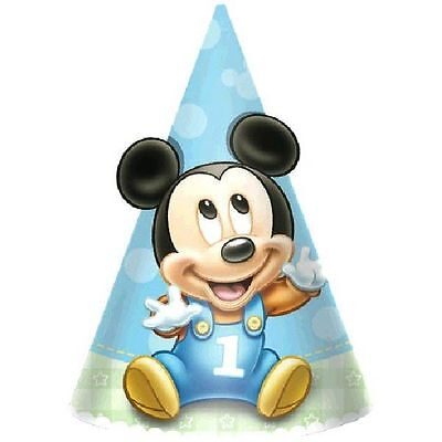 Mickey Mouse Baby 1st Birthday Party Disney 8 Cone Party Hats