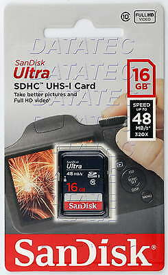 SanDisk 16 GB Ultra SD Card class 10 UHS-I 48MB SDHC memory Full HD EXTREME 16G