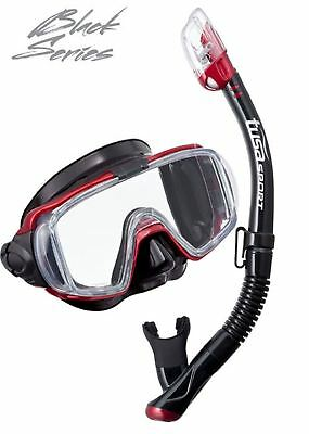 Tusa Pro Quality Mask and Snorkel Set - Side View Mask and Dry Top Snorkel - RED