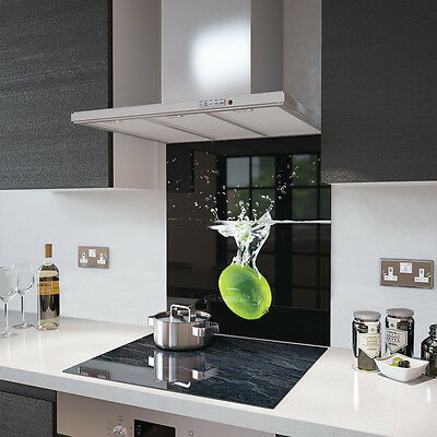 Digital Printed Toughened Glass Picture Splashback - Lime In Water