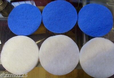 3 X Compatible Fluval Fx5 Fine Filter Pads + 3 White Polishing Pads Free P&p