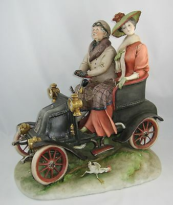 "1958 Capodimonte Giuseppe Cappe Large Sculpture ""MAN & WOMAN IN VINTAGE CAR"""