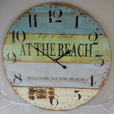 """23"""" Wall Clock Life is Good WELCOME TO THE BEACH Nautical Clocks OPEN BOX BUY"""