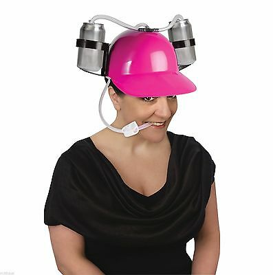 Pink Drinking Hard Hat Cool Unique Party Game Beer Soda Dual Can Straw Helmet