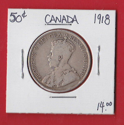 1918 Canada 50 Cent Silver Coin Fifty 2022  $19