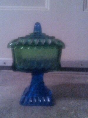 Blue Green Vintage Jeanette glass 4.5 candy nut dish