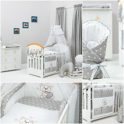 13 Pcs Exclusive Unisex Grey Stars Bedding Set For Cot Bed Tidy Canopy Holder